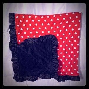 Minky soft baby blanket: black, red & white dots